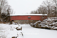 63904-03311 Narrows Covered Bridge in winter at Turkey Run State Park,  IN