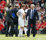 Sir Alex Ferguson talks to Damien Duff during the Michael Carrick Testimonial match at the Old Trafford Stadium, Manchester. Picture date: June 4th 2017. Picture credit should read: Simon Bellis/Sportimage