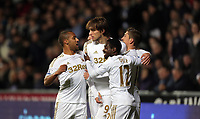 Sunday, 28 November 2012<br /> Pictured: (L-R) Wayne Routledge, Michu, Nathan Dyer and Pablo Hernandez.<br /> Re: Barclays Premier League, Swansea City FC v West Bromwich Albion at the Liberty Stadium, south Wales.