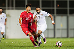 Mother Abu Amara of Jordan (R) fights for the ball with Tan Chun Lok of Hong Kong (L) during the International Friendly match between Hong Kong and Jordan at Mongkok Stadium on June 7, 2017 in Hong Kong, China. Photo by Marcio Rodrigo Machado / Power Sport Images