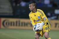 Jon Busch controls the ball. The San Jose Earthquakes tied the Philadelphia Union 0-0 at Buck Shaw Stadium in Santa Clara, California on July 9th, 2011.