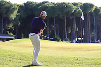 Paul Waring (ENG) chips onto the 5th green during Saturday's Round 3 of the 2018 Turkish Airlines Open hosted by Regnum Carya Golf &amp; Spa Resort, Antalya, Turkey. 3rd November 2018.<br /> Picture: Eoin Clarke | Golffile<br /> <br /> <br /> All photos usage must carry mandatory copyright credit (&copy; Golffile | Eoin Clarke)