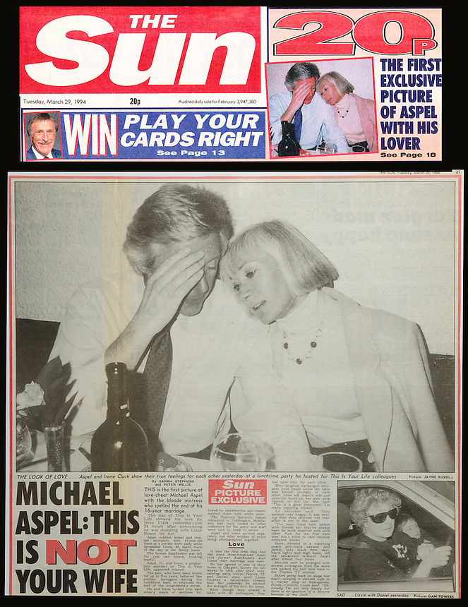 TV PRESENTER MICHAEL ASPEL, THE SUN NEWSPAPER TEAR SHEET, 29 MARCH 1994