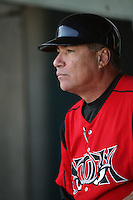 May 2, 2010: Carlos Lezcano, manager of the Lake Elsinore Storm, during game against the Lancaster JetHawks at Clear Channel Stadium in Lancaster,CA.  Photo by Larry Goren/Four Seam Images