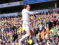 Pictured: Michu of Swansea celebrating his opening goal.  Saturday 06 April 2013<br />