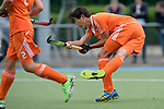 GER - Mannheim, Germany, May 16: During the whitsun tournament boys hockey match between Germany (black) and The Netherlands (orange) on May 16, 2016 at Mannheimer HC in Mannheim, Germany. Final score 4-3 (HT 2-0). (Photo by Dirk Markgraf / www.265-images.com) *** Local caption *** Valentijn Charbon #6 of The Netherlands