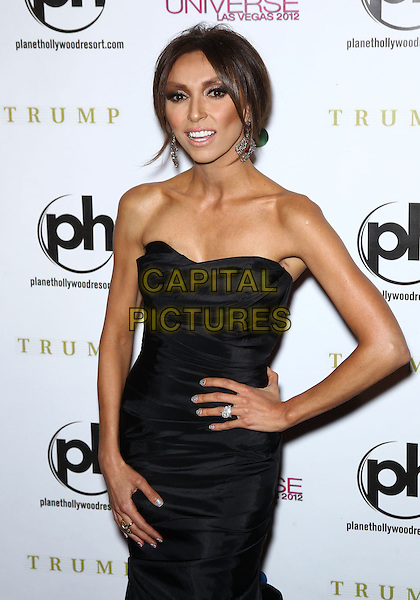 Giuliana Rancic.Miss USA Olivia Culpo named Miss Universe 2012 at Planet Hollywood Resort and Casino, Red Carpet, Las Vegas, NV., USA..December 19th, 2012.half length black strapless dress hand on hip.CAP/ADM/MJT.© MJT/AdMedia/Capital Pictures.