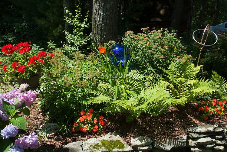 Beautiful Blue Gazing Ball With Hemerocallis Daylilies, Impatiens, Ferns, Hydrangea,  Pelagronium, Spiraea
