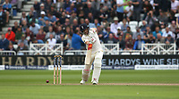 England's Joe Root hits a boundary of the bowling of South Africa's Vernon Philander<br /> <br /> Photographer Stephen White/CameraSport<br /> <br /> Investec Test Series 2017 - Second Test - England v South Africa - Day 2 - Saturday 15th July 2017 - Trent Bridge - Nottingham<br /> <br /> World Copyright &copy; 2017 CameraSport. All rights reserved. 43 Linden Ave. Countesthorpe. Leicester. England. LE8 5PG - Tel: +44 (0) 116 277 4147 - admin@camerasport.com - www.camerasport.com