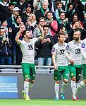 Stockholm 2015-04-25 Fotboll Allsvenskan Hammarby IF - &Aring;tvidabergs FF :  <br /> Hammarbys Nahir Besara firar sitt 2-0 m&aring;l bredvid Kennedy Bakircioglu med att g&ouml;ra ett tecken mot himlen under matchen mellan Hammarby IF och &Aring;tvidabergs FF <br /> (Foto: Kenta J&ouml;nsson) Nyckelord:  Fotboll Allsvenskan Tele2 Arena Hammarby HIF Bajen &Aring;tvidaberg &Aring;FF jubel gl&auml;dje lycka glad happy
