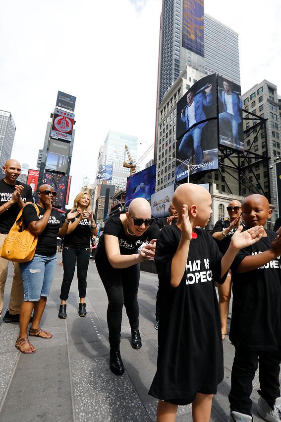 Alopecia Areata Flash Mob in NYC.<br /> In Times Square.