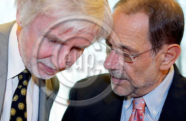 BRUSSELS - BELGIUM - 18 JULY 2006 -- Erkki TUOMIOJA (Le), Minister of Foreign Affairs of Finland with Javier SOLANA, the European Union foreign policy chief before the meeting with the U.N. Secretary-General. -- PHOTO: THIERRY MONASSE / EUP-IMAGES