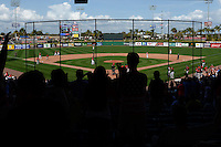 General view of the Philadelphia Phillies exhibition game against the University of Tampa as Giovanny Alfonzo (2) hit a grand slam home run on March 1, 2015 at Bright House Field in Clearwater, Florida.  University of Tampa defeated Philadelphia 6-2.  (Mike Janes/Four Seam Images)