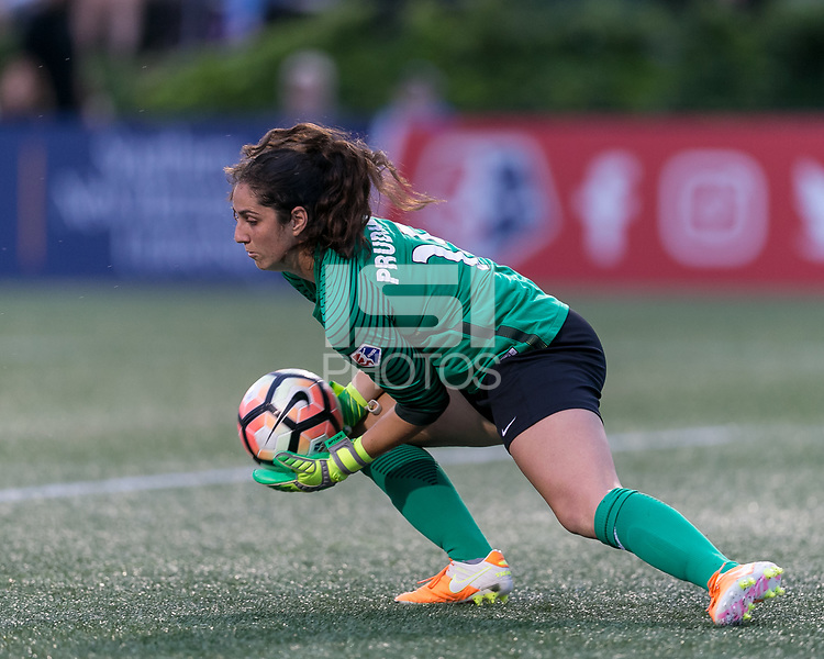 Allston, Massachusetts - July 7, 2017: In a National Women's Soccer League (NWSL) match, Boston Breakers (blue) tied Chicago Red Stars (white/red), 0-0, at Jordan Field.