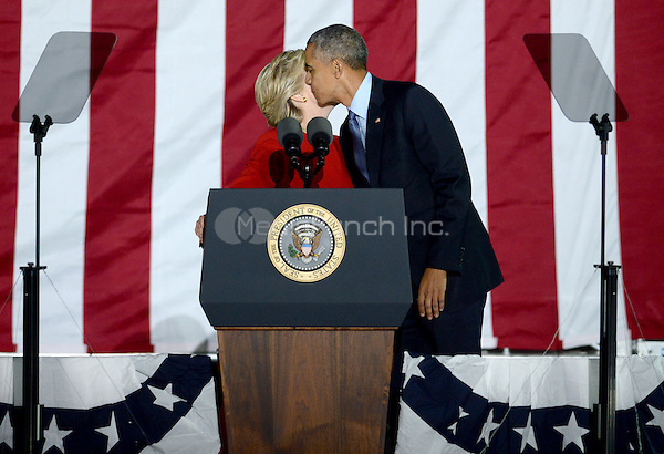 PHILADELPHIA, PA - NOVEMBER 7: Hillary Clinton and President Barack Obama at the GOTV Rally in support of Hillary Clinton for President at Independence Mall in Philadelphia, Pennsylvania on November 7, 2016. Credit: Dennis Van Tine/MediaPunch