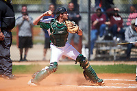 Farmingdale State Rams catcher Anthony Sirianni (42) throws down to third base during the first game of a doubleheader against the FDU-Florham Devils on March 15, 2017 at Lake Myrtle Park in Auburndale, Florida.  Farmingdale defeated FDU-Florham 6-3.  (Mike Janes/Four Seam Images)