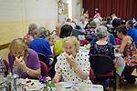 Stowey Female Friendly Society ( The Womens Walk ) Club Day.  Cream tea in the Village Hall. - £5.00. Nether Stowey Somerset UK 2014.