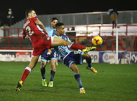 Matty Pearson of Accrington Stanley tries to stop Paris Cowan-Hall of Wycombe Wanderers from making a clearence <br /> during the Sky Bet League 2 match between Accrington Stanley and Wycombe Wanderers at the wham stadium, Accrington, England on 28 February 2017. Photo by Tony  KIPAX.