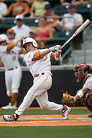 Secondbaseman Jordan Etier #7 of the Texas Longhorns at bat against the Oklahoma Sooners in NCAA Big XII baseball on May 1, 2011 at Disch Falk Field in Austin, Texas. (Photo by Andrew Woolley / Four Seam Images)