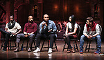 Justin Dine Bryant, Antuan Magic Raimone,  Sean Green Jr., Lauren Boyd, Neil Haskell and Donald Webber during the an eduHAM Q & A with the cast of Broadway's 'Hamilton' at The Richard Rodgers Theatre on April 25, 2018 in New York City.