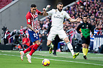 Jose Maria Gimenez of Atletico de Madrid and Karim Benzema of Real Madrid during La Liga match between Atletico de Madrid and Real Madrid at Wanda Metropolitano in Madrid Spain. February 09, 2018. (ALTERPHOTOS/Borja B.Hojas)