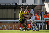 Jerome Sinclair of Watford battles for the ball during the Pre Season Friendly match between Woking and Watford at the Kingfield Stadium, Woking, England on 10 July 2016. Photo by Andy Rowland.