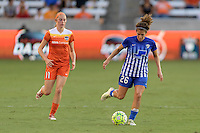 Houston, TX - Sunday Sept. 11, 2016: Janine Beckie, Angela Salem during a regular season National Women's Soccer League (NWSL) match between the Houston Dash and the Boston Breakers at BBVA Compass Stadium.