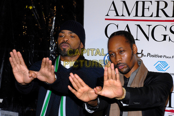 """METHOD MAN & RZA.The New York premiere of """"American Gangster"""" held at the Apollo Theater, New York, New York, USA,.19 October 2007..half length hands gesture.CAP/ADM/BL.©Bill Lyons/AdMedia/Capital Pictures. *** Local Caption ***"""