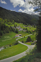 Road leading to Alpine village, Wenns area district of Imst, Tyrol, Tirol, Austria.