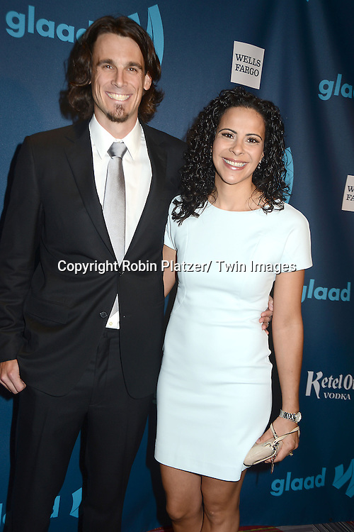Chris Kluwe and wife attends the 24th Annual GLAAD Media Awards on March 16, 2013 at The Marriott Marquis in New York City.