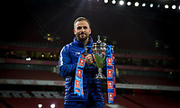 Jody Morris Coach of Chelsea U18 poses with the trophy during the FA Youth Cup FINAL 2nd leg match between Arsenal and Chelsea at the Emirates Stadium, London, England on 30 April 2018. Photo by Andy Rowland.