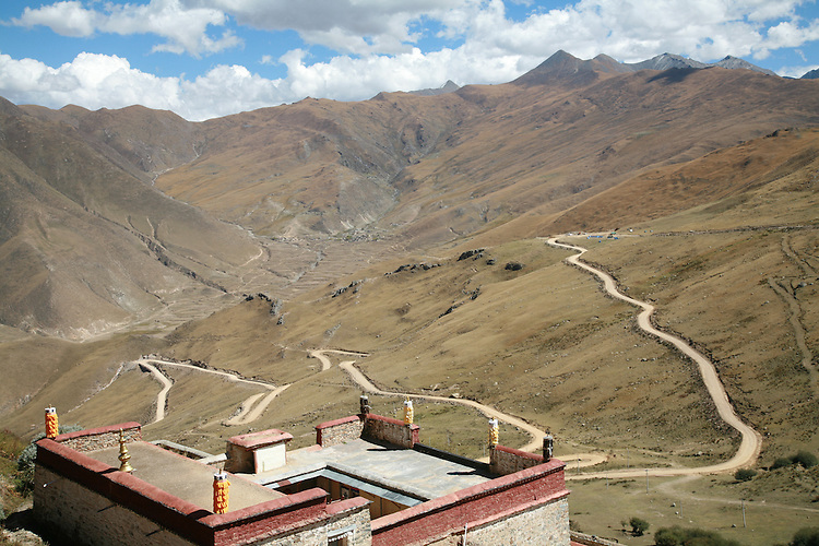 The Ganden Monestary, high on a mountainside, near Lhasa once housed 10,000 monks.