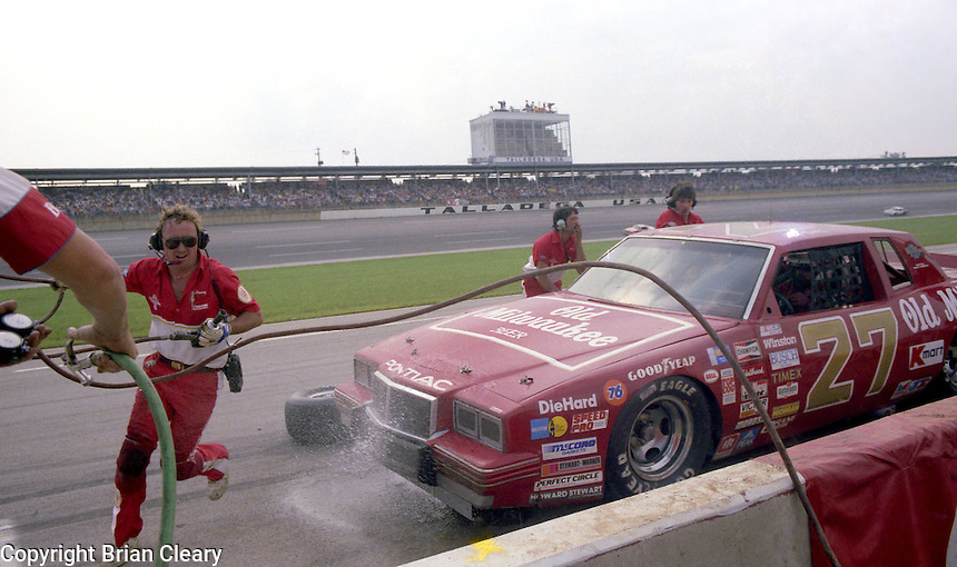 Tim Richmond pits pit stop overheating 16th place finish Winston 500 at Alabama International Motor Speedway in Talladega , AL on May 5, 1985. (Photo by Brian Cleary/www.bcpix.com)