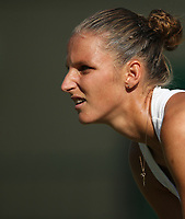 Karolina Pliskova (CZE) during her victory over Mihaela Buzarnescu (ROU) in their Ladies' Singles Third Round match<br /> <br /> Photographer Rob Newell/CameraSport<br /> <br /> Wimbledon Lawn Tennis Championships - Day 5 - Friday 6th July 2018 -  All England Lawn Tennis and Croquet Club - Wimbledon - London - England<br /> <br /> World Copyright &not;&copy; 2017 CameraSport. All rights reserved. 43 Linden Ave. Countesthorpe. Leicester. England. LE8 5PG - Tel: +44 (0) 116 277 4147 - admin@camerasport.com - www.camerasport.com