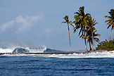 INDONESIA, Mentawai Islands, a large wave in Indian Ocean with palm trees in the foreground, Bankvaults