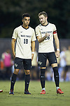 Eddie Folds (19) and Sam Raben (26) of the Wake Forest Demon Deacons prior to the start of the match against the North Carolina State Wolfpack at W. Dennie Spry Soccer Stadium on September 7, 2018 in Winston-Salem, North Carolina.  The Demon Deacons defeated the Wolfpack 3-0 in double-overtime.  (Brian Westerholt/Sports On Film)