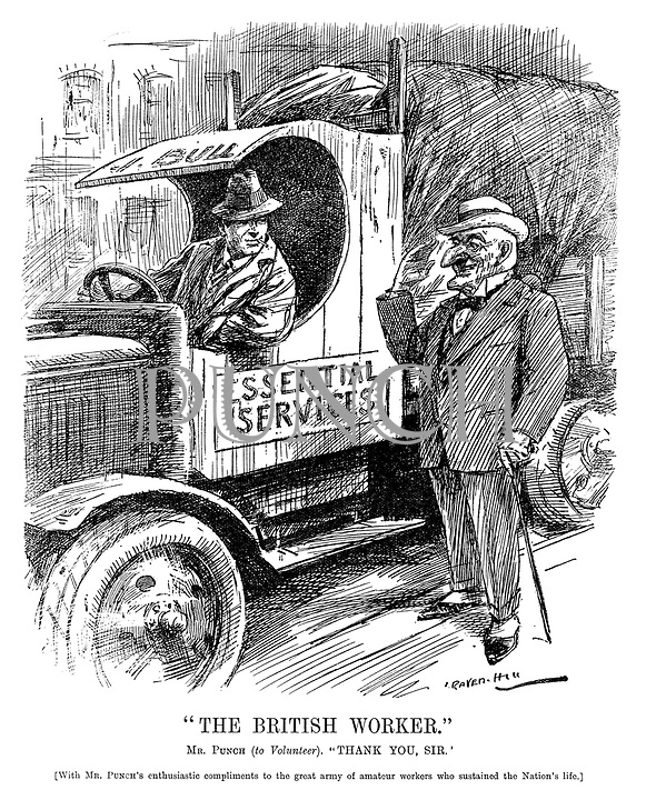 """The British Worker."" Mr Punch (to volunteer). ""Thank you, Sir."" [With Mr Punch's enthusiastic compliments to the great army of amateur workers who sustained the Nation's life.] (cartoon showing Mr Punch's salute to the Essential Services lorry driver during the InterWar era)"
