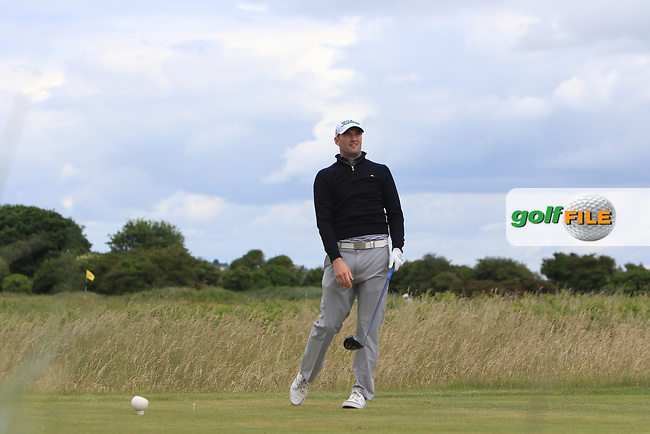 Barry Anderson (The Royal Dubin) on the 2nd tee during Round 3 of the East of Ireland Amateur Open Championship at Co. Louth Golf Club in Baltray on Sunday 4th June 2017.<br /> Photo: Golffile / Thos Caffrey.<br /> <br /> All photo usage must carry mandatory copyright credit     (&copy; Golffile | Thos Caffrey)