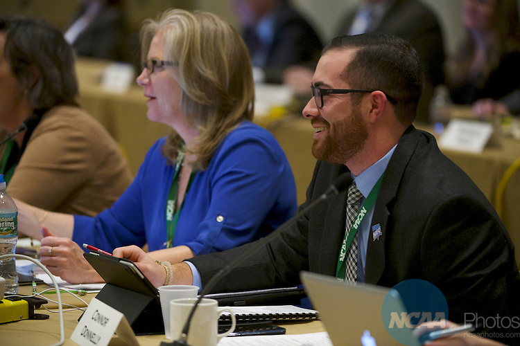 18 JAN 2017: The Division I Council meeting takes place during the 2017 NCAA Convention at the Gaylord Opryland Resort and Convention Center in Nashville, TN.  Jamie Schwaberow/NCAA Photos (Pictured:  Connor Donnelly)