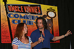 One Life To Live's Michael Easton and surprise guest Melissa Archer entertained fans on July 13, 2008 at Uncle Vinnie's Comedy Club in Point Pleasant, New Jersey. There was entertainment, q & a, and signing of photos and Michael's new book,. a graphic novel (which Melissa is holding) written by Michael and artwork by Christopher Shy. (Photo by Sue Coflin/Max Photos)