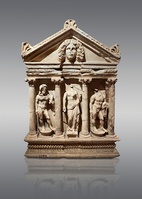 "Roman Herakles (Hercules)  relief sculptured sarcophagus, 2nd century AD, Perge, inv 928. it is from the group of tombs classified as. ""Columned Sarcophagi of Asia Minor"".  Antalya Archaeology Museum, Turkey. Against a grey background."