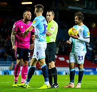 Queens Park Rangers' Toni Leistner protests to referee Peter Bankes after he awarded Blackburn Rovers a penalty<br /> <br /> Photographer Alex Dodd/CameraSport<br /> <br /> The EFL Sky Bet Championship - Blackburn Rovers v Queens Park Rangers - Saturday 3rd November 2018 - Ewood Park - Blackburn<br /> <br /> World Copyright &copy; 2018 CameraSport. All rights reserved. 43 Linden Ave. Countesthorpe. Leicester. England. LE8 5PG - Tel: +44 (0) 116 277 4147 - admin@camerasport.com - www.camerasport.com