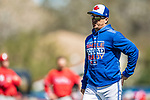 6 March 2019: Toronto Blue Jays Manager Carlos Montoyo walks back to the dugout after a mound visit during a Spring Training game against the Philadelphia Phillies at Dunedin Stadium in Dunedin, Florida. The Blue Jays defeated the Phillies 9-7 in Grapefruit League play. Mandatory Credit: Ed Wolfstein Photo *** RAW (NEF) Image File Available ***