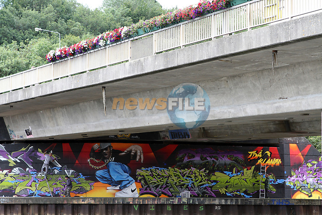 Finishing touches put to the Graffiti under the Bridge of Peace...(Photo credit should read Jenny Matthews www.newsfile.ie)....This Picture has been sent you under the conditions enclosed by:.Newsfile Ltd..The Studio,.Millmount Abbey,.Drogheda,.Co Meath..Ireland..Tel: +353(0)41-9871240.Fax: +353(0)41-9871260.GSM: +353(0)86-2500958.email: pictures@newsfile.ie.www.newsfile.ie.