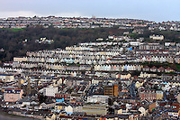 Pictured: General view of the Mount Pleasant area of Swansea as seen from the Penthouse restaurant<br />
