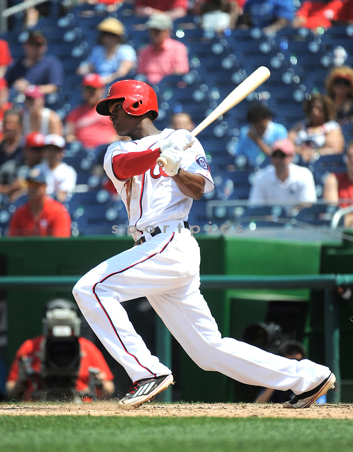 Washington Nationals Michael Taylor (3) during a game against the Philadelphia Phillies on June 11, 2016 at Nationals Park in Washington, DC. The Nationals beat the Phillies 8-0.