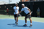 Bar Botzer (left) and Petros Chrysochos of the Wake Forest Demon Deacons teamed up at #2 doubles against the South Carolina Gamecocks during Round Two of the 2018 NCAA Men's Tennis Championship at the Wake Forest Tennis Center on May 13, 2018 in Winston-Salem, North Carolina.  The Demon Deacons defeated the Gamecocks 4-1.  (Brian Westerholt/Sports On Film)