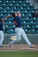 Bobby Dalbec (29) of the Salem Red Sox follows through on his swing against the Winston-Salem Dash at BB&T Ballpark on April 20, 2018 in Winston-Salem, North Carolina.  The Red Sox defeated the Dash 10-3.  (Brian Westerholt/Four Seam Images)