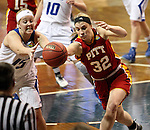 SIOUX FALLS MARCH 22:  Madison Northcutt #32 from Pittsburg State battles for the loose ball with Lindsay Baker #15 from Grand Valley State during their quarterfinal game at the NCAA Women's Division II Elite 8 Tournament at the Sanford Pentagon in Sioux Falls, S.D. (Photo by Dave Eggen/Inertia)