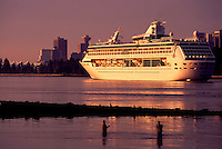 Cruise Ship passing Two Fishermen, upon arriving in Vancouver Harbour, British Columbia, Canada